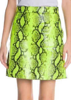 Off-White Python-Print Leather Skirt