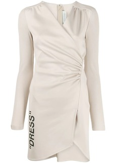 Off-White ribbed sleeve ruched dress