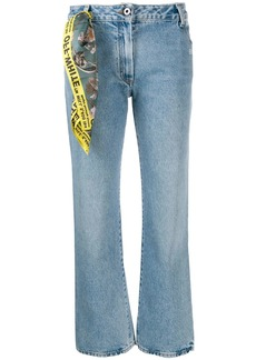 Off-White scarf detail cropped jeans