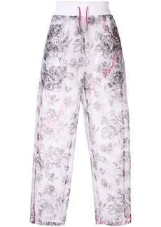 Off-White semi-sheer rose motif trousers
