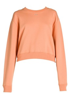 Off-White Shifted Carryover Embellished Cropped Crewneck Sweatshirt