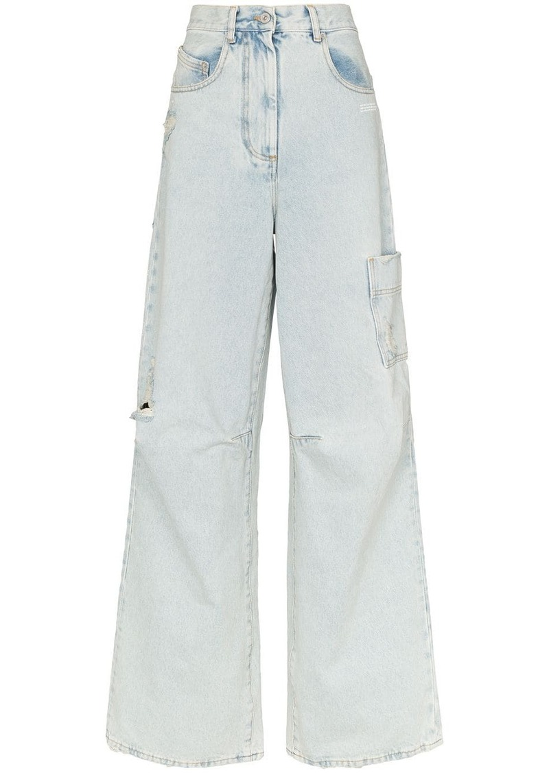 Off-White skater style distressed jeans