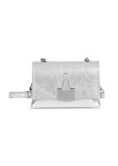 Off-White Small Binder Clip Metallic Leather Crossbody Bag
