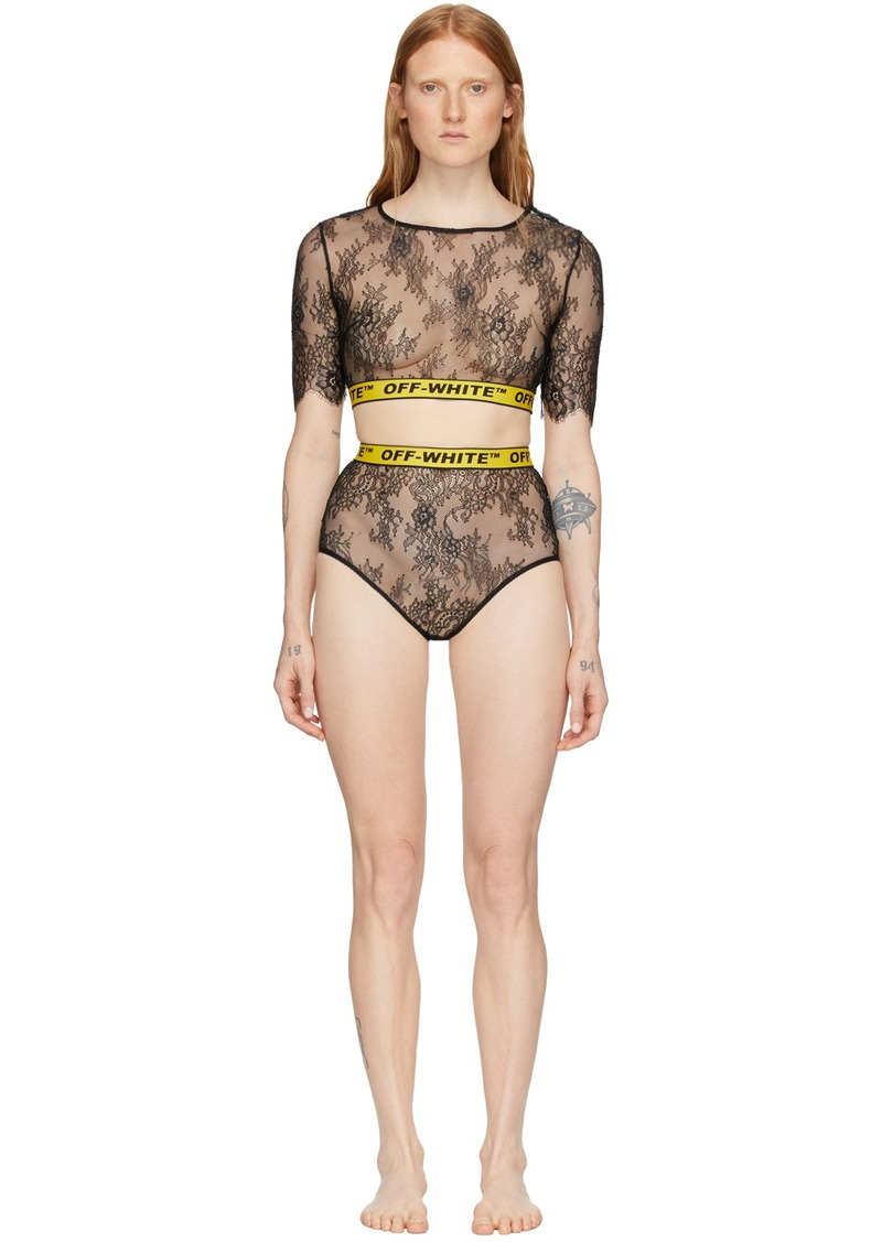 Off-White SSENSE Exclusive Black & Yellow Lace Two-Piece Bodysuit