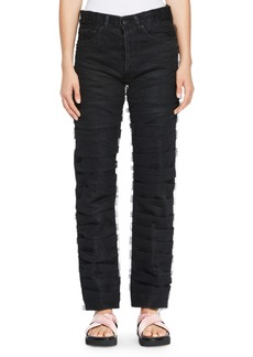 Off-White Straight-Leg Jeans with Tulle Trim