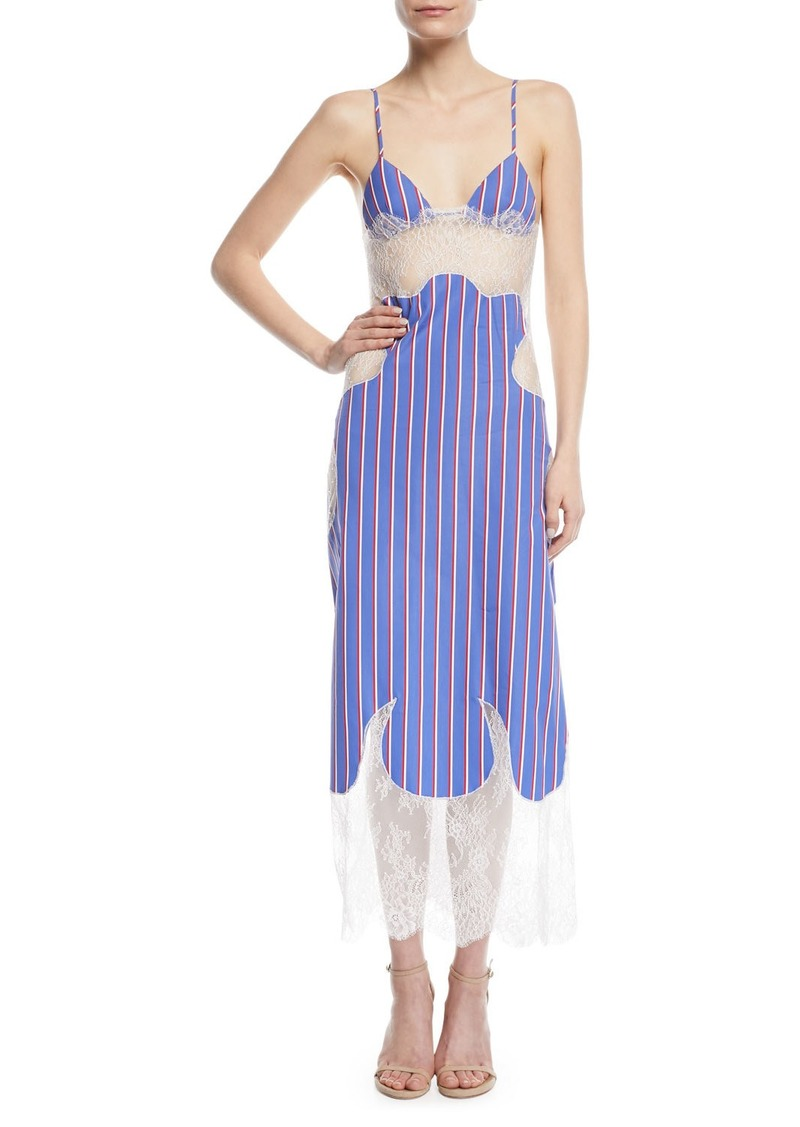 Off-White Striped Cotton and Lace Slip Dress