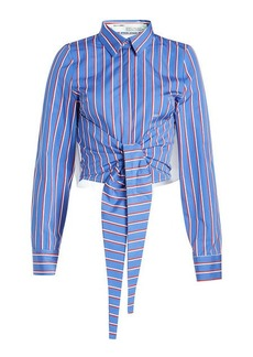 Off-White Striped Cotton Shirt with Ruffled Trims