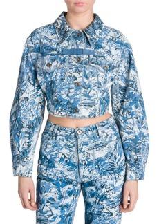 Off-White Tapestry Crop Denim Jacket