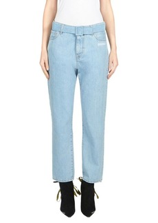 Off-White Thight Crop Belted Jeans