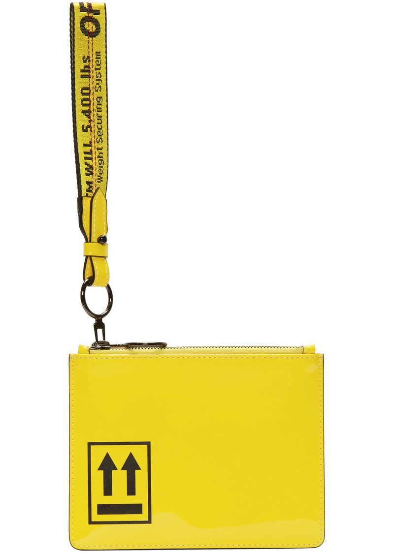 Off-White Yellow Patent Pouch