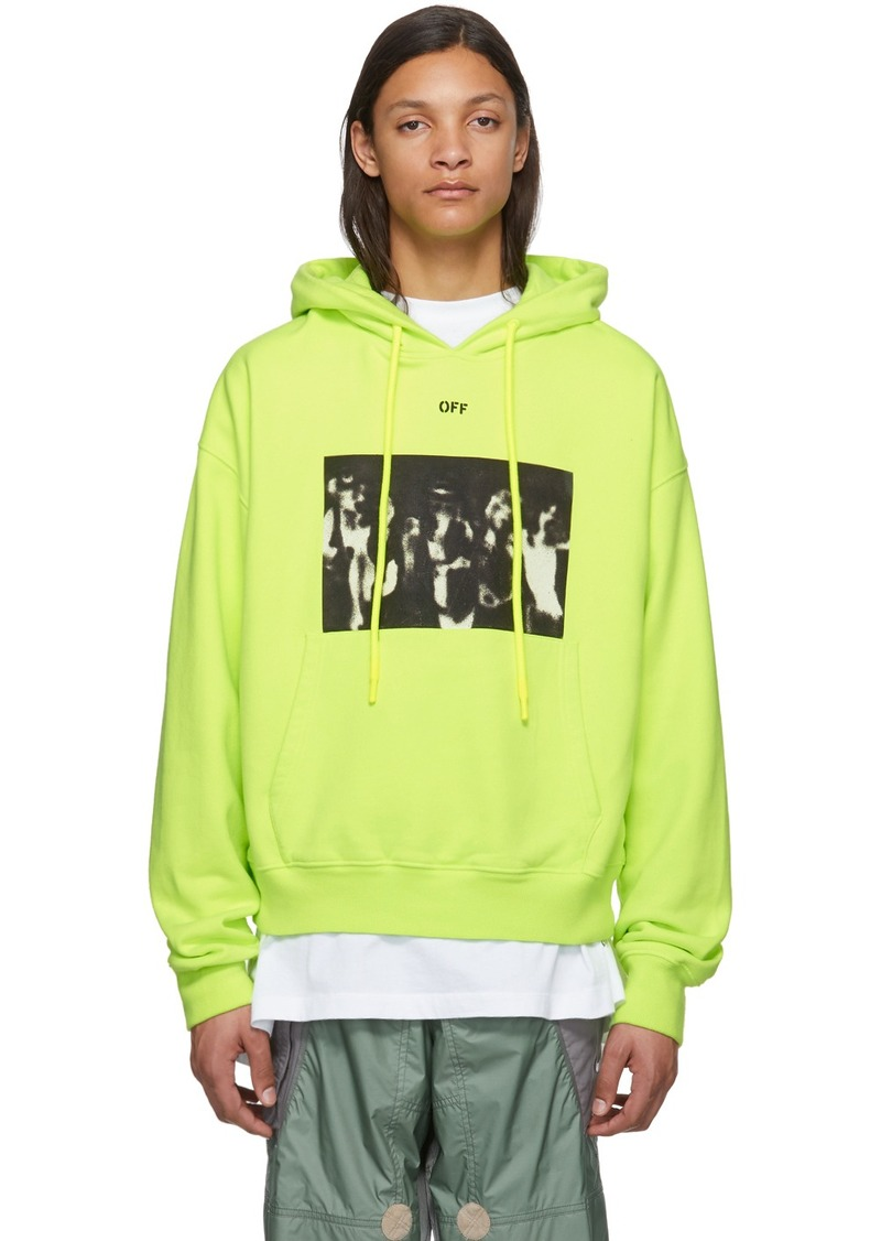 Off-White Yellow Spray Paint Over Hoodie