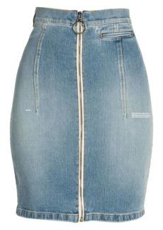Off-White Zip Front Denim Skirt