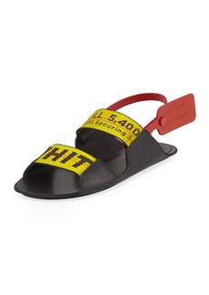 bd2434dec9eb Off-White Zip Tie Leather Slingback Sandals