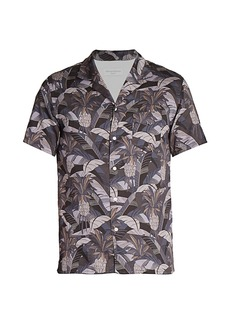 Officine Generale Dario Short-Sleeve Tropical Button-Front Shirt