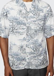 Officine Generale Men's Eren Viscose Floral-Print Sport Shirt