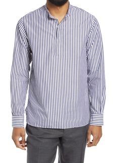 Officine Generale Officine Générale Men's Alfred Slim Fit Stripe Popover Shirt