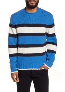 Officine Generale Officine Générale Slim Fit Stripe Crewneck Sweater