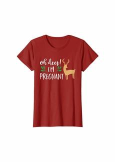 Oh DEER! Womens Christmas Pregnancy Announcement Shirt Oh Deer I'm Pregnant T-Shirt