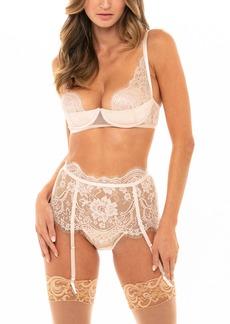 Oh La La Cheri Underwire Demi Bra, High Waist Panties & Suspenders Set