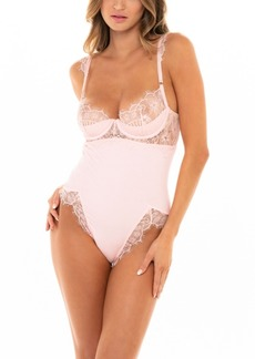 Oh La La Cheri Women's Rib Knit and Eyelash Lace Teddy with Unlined Cups and Front and Back High Leg Slits