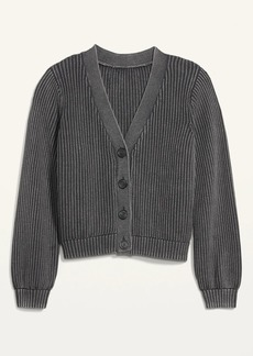 Old Navy Acid-Wash Shaker-Stitch Button-Front Cardigan Sweater for Women