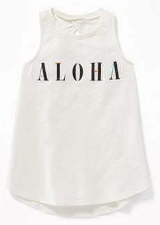 "Old Navy ""Aloha"" Graphic Twist-Back Tunic Tank"