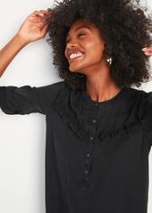 Old Navy Black Chambray Ruffle-Yoke Popover Shirt Dress for Women