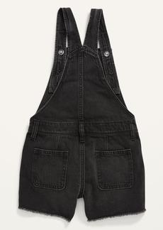Old Navy Black-Wash Frayed-Hem Jean Shortalls for Girls