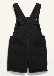 Old Navy Black-Wash Frayed-Hem Jean Shortalls for Toddler Girls