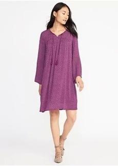 Boho Split-Neck Swing Dress for Women