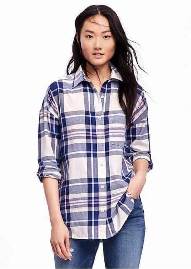 Old navy boyfriend plaid shirt for women now shop for Women s stewart plaid shirt
