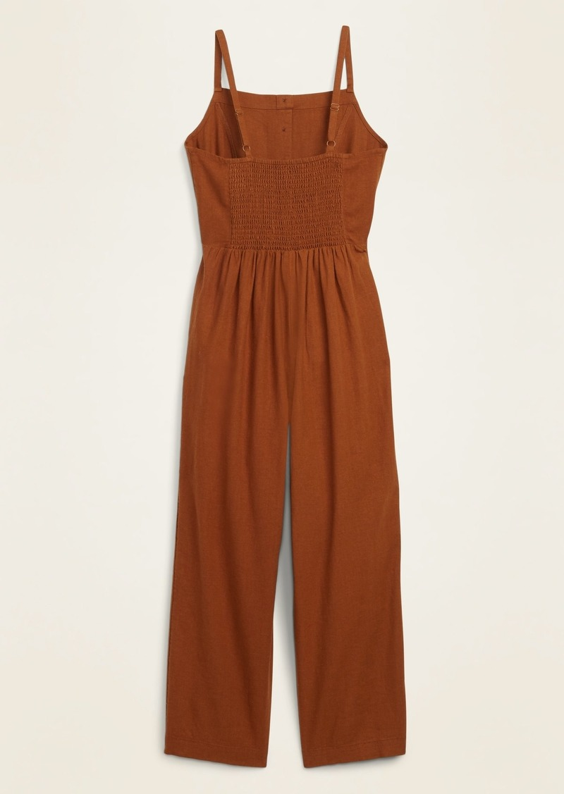 Old Navy Button-Front Linen-Blend Cami Jumpsuit for Women