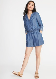 Old Navy Button-Front Tencel&#174 Utility Romper for Women
