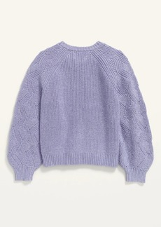 Old Navy Cable-Knit Blouson-Sleeve Pullover Sweater for Girls