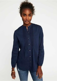 Chambray Button-Front Pintuck Top for Women
