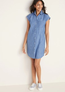 Old Navy Chambray Cap-Sleeve Shirt Dress for Women