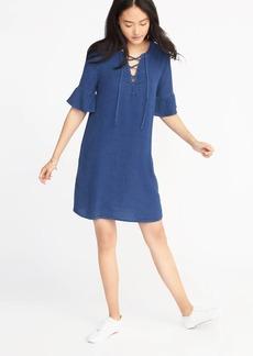 Chambray Lace-Up Shift Dress for Women