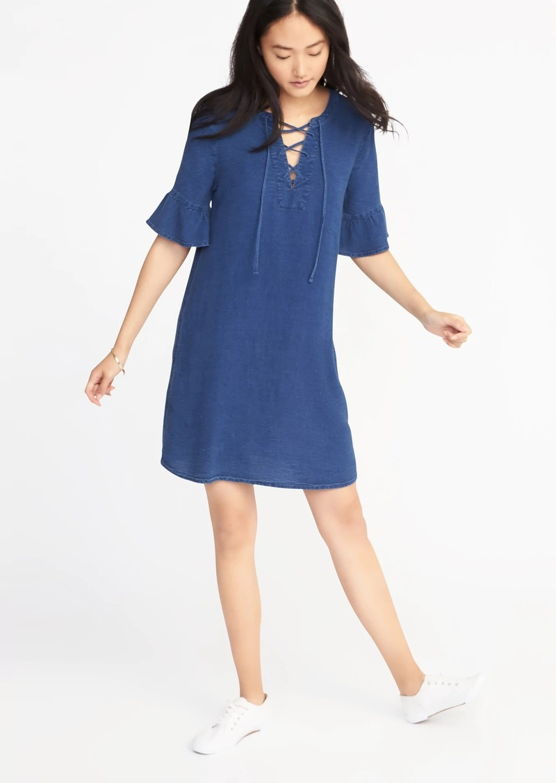 Sale Old Navy Chambray Lace Up Shift Dress For Women