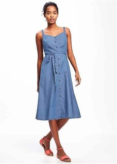 Chambray Tie-Belt Midi Dress for Women