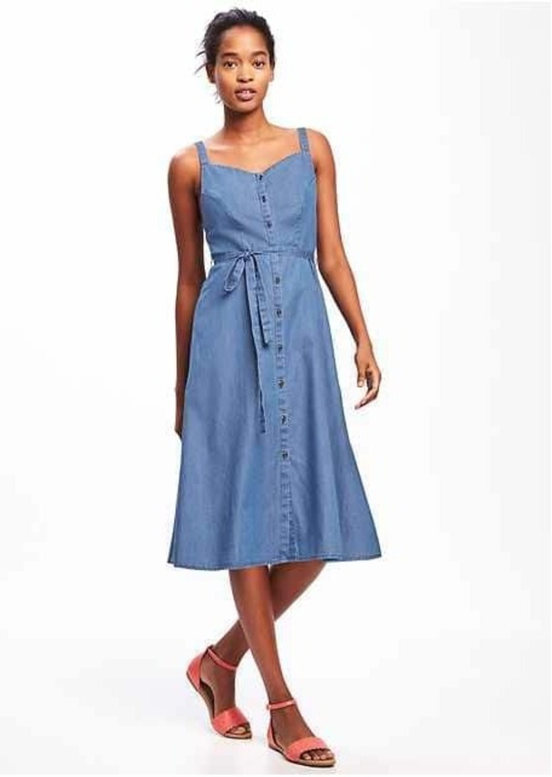 fa75049cb90 SALE! Old Navy Chambray Tie-Belt Midi Dress for Women