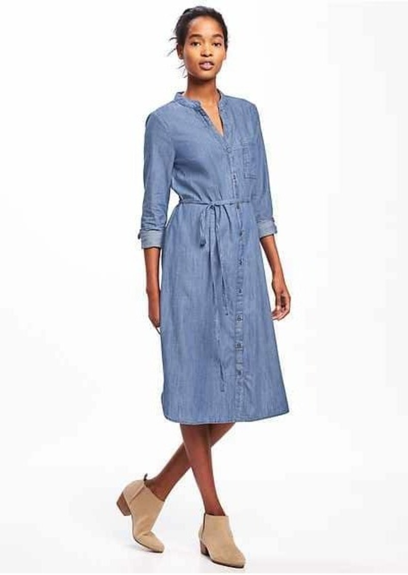 Old Navy Chambray Tie Belt Shirt Dress For Women Dresses