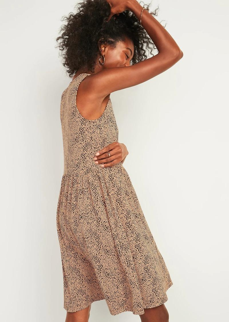 Old Navy Cheetah-Print Jersey Sleeveless Drop-Waist Swing Dress for Women
