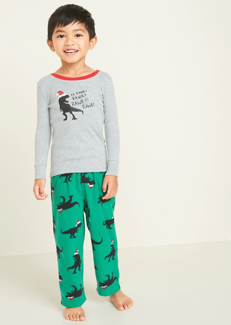 Old Navy Christmas T-Rex Pajama Set for Toddler Boys & Baby