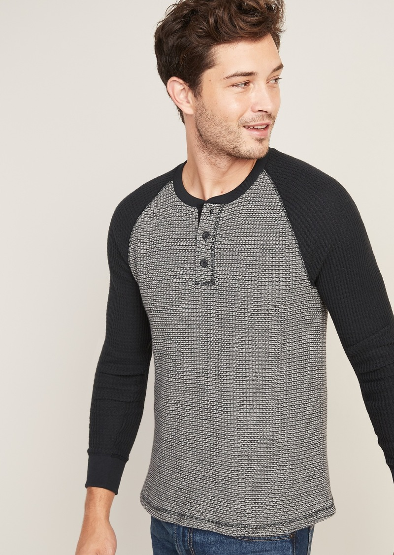 Old Navy Chunky Thermal-Knit Built-In Flex Raglan-Sleeve Henley for Men