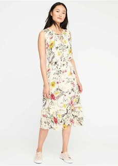 Cinched-Waist Floral Dress for Women