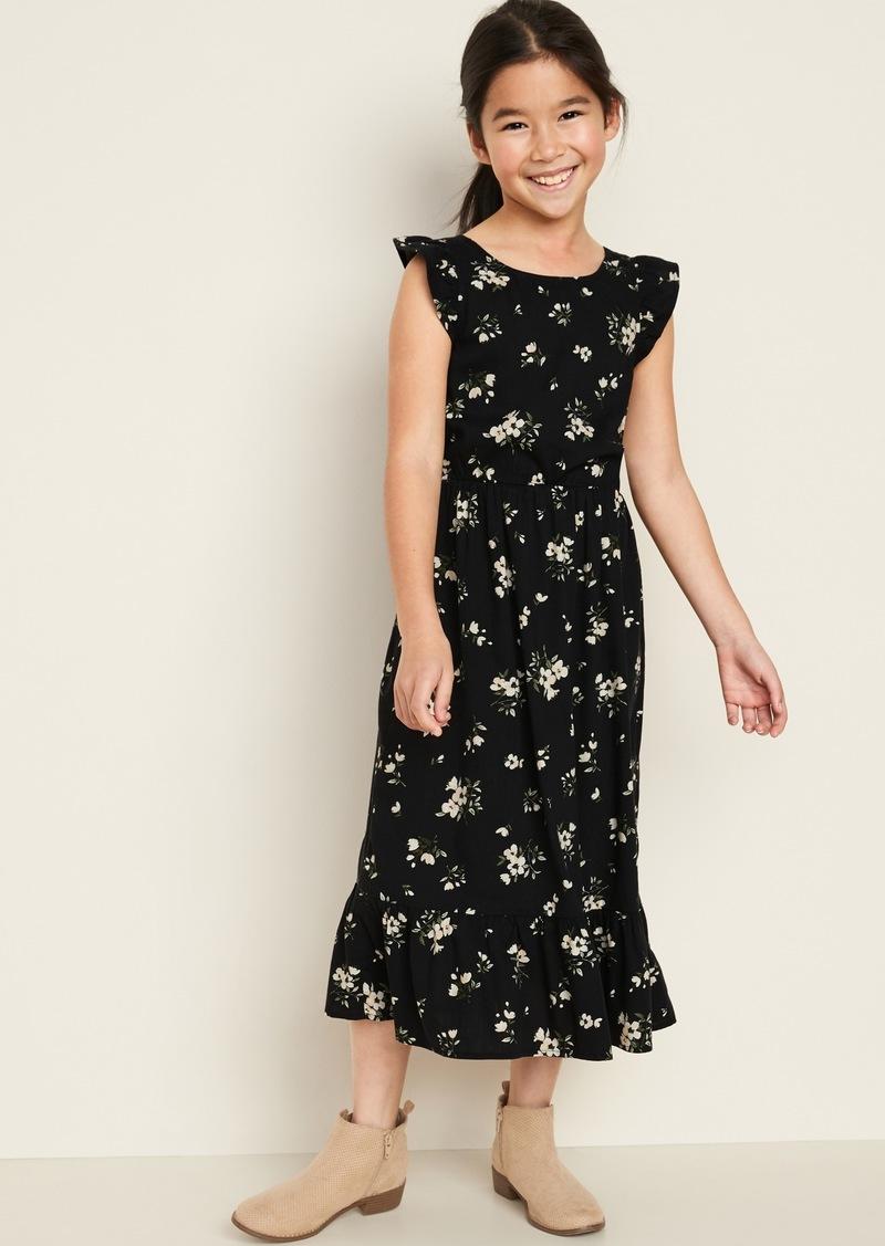 Old Navy Cinched-Waist Flutter-Trim Dress for Girls