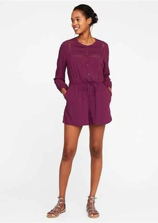 Cinched-Waist Pintuck Romper for Women