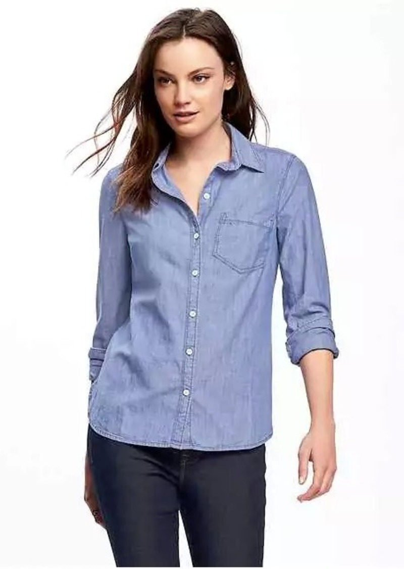 Old navy classic chambray shirt for women casual shirts for Chambray shirt women