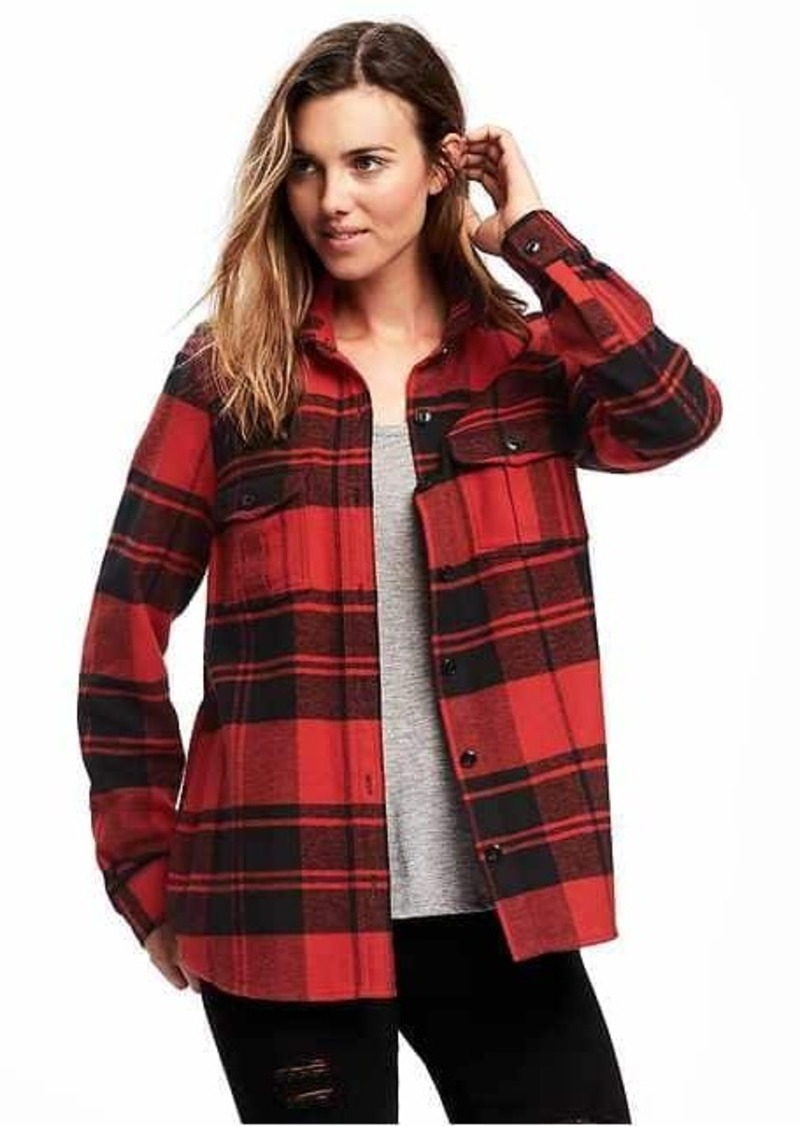 Sale old navy classic flannel shirt jacket for women for Girl in flannel shirt