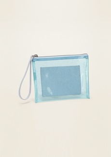 Old Navy Clear Glitter-Vinyl Zip-Top Wristlet for Women